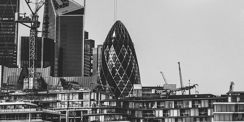 Landscape view of the Gherkin in London