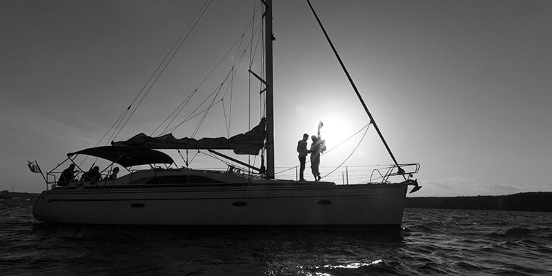 Silhouette of couple on a luxury yacht